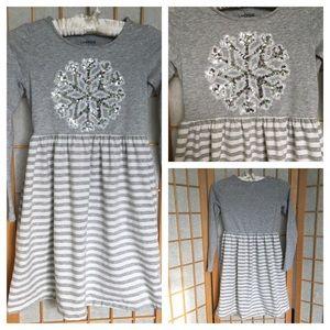 Lands End Embellished Snowflake Dress SZ S